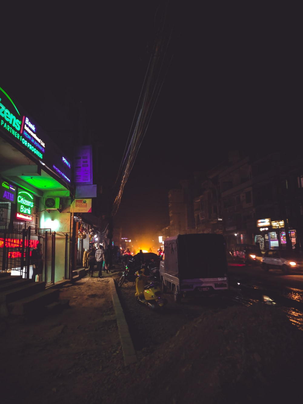 green and purple-lighted establishment at night
