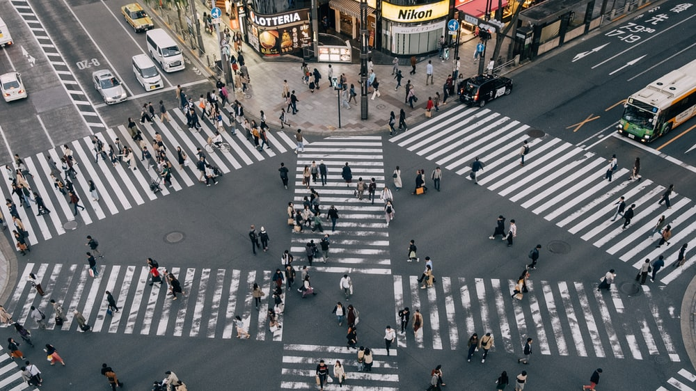 aerial photography people crossing the street