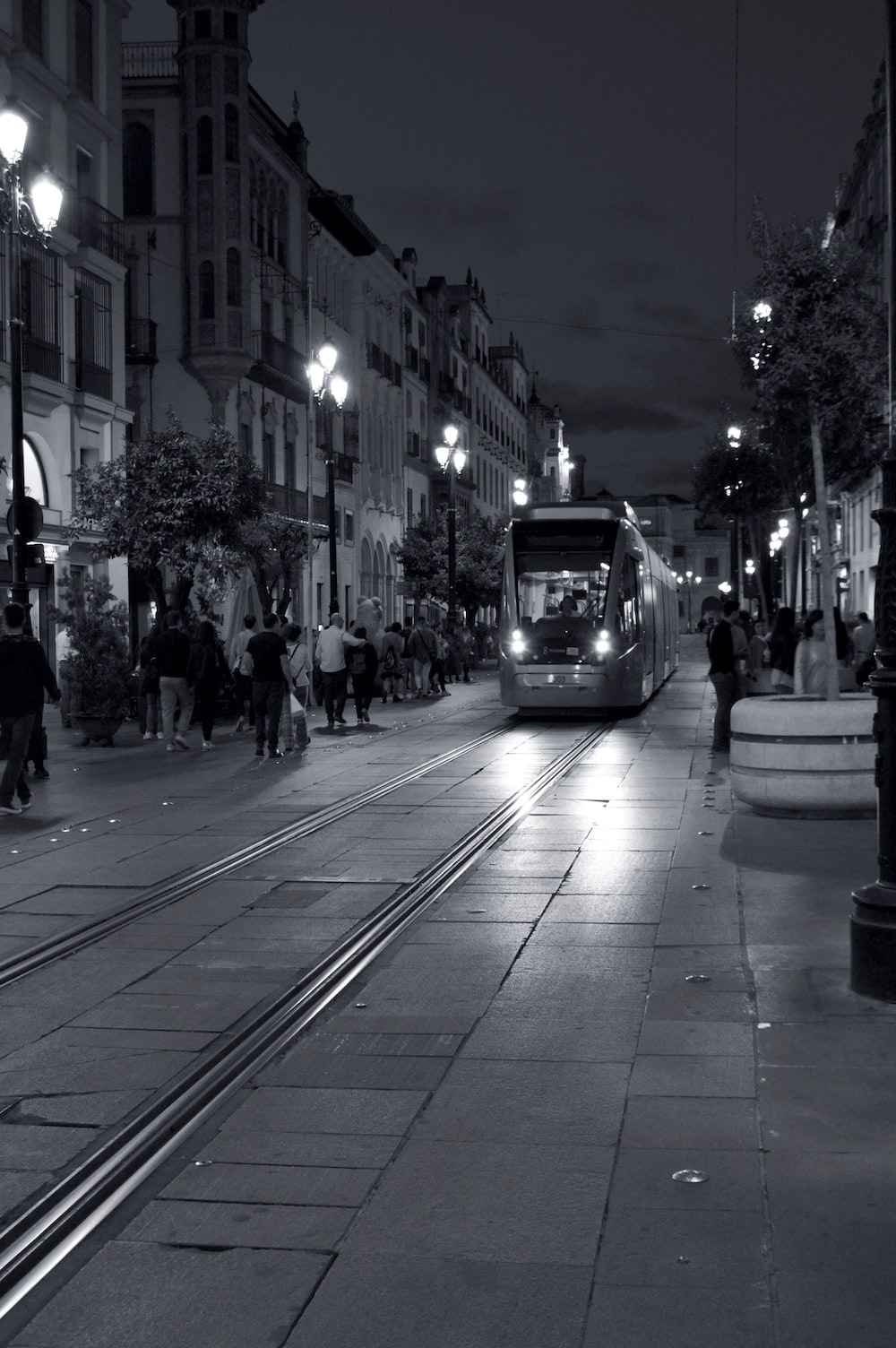 grayscale photo of train at night