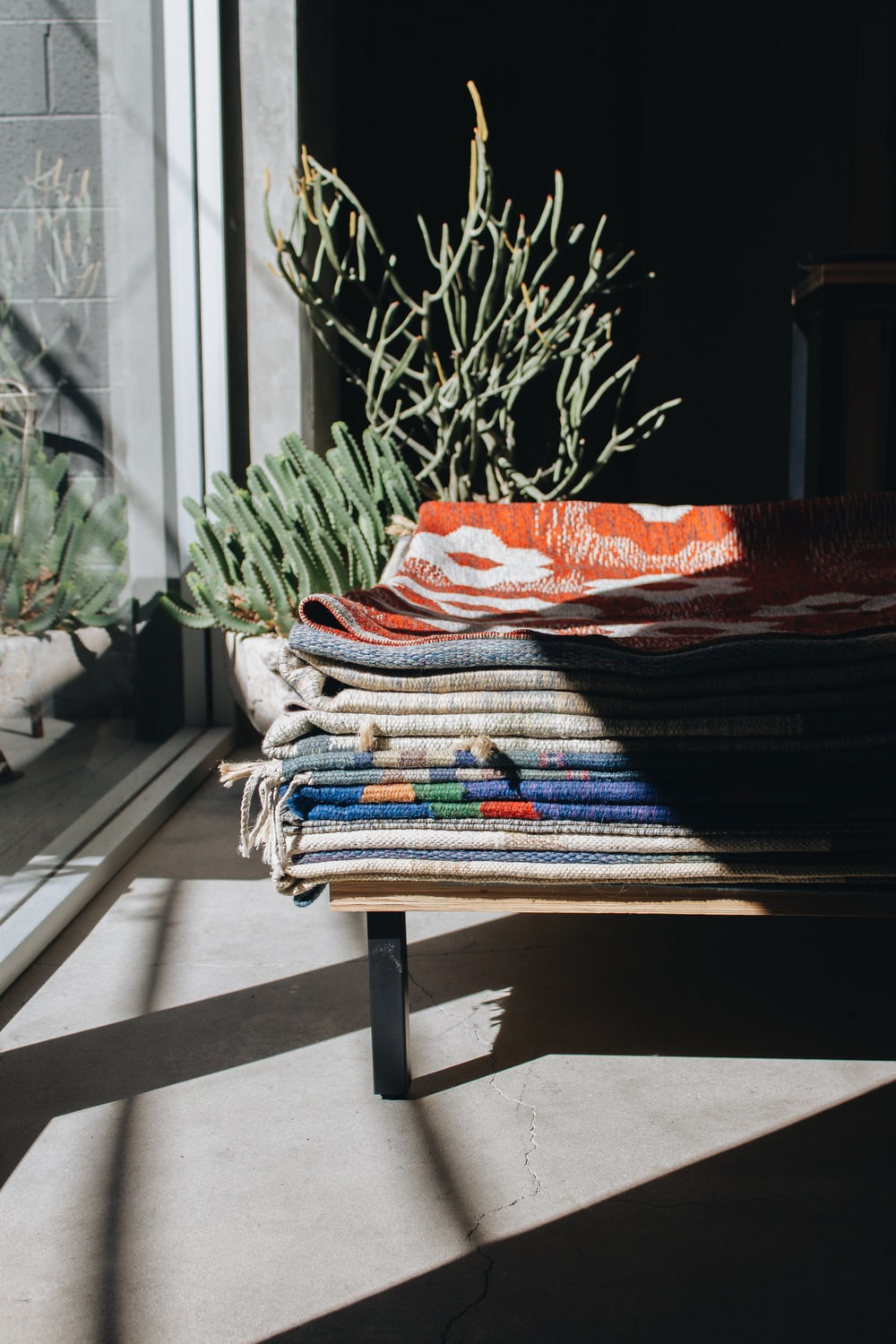 assorted-color blankets