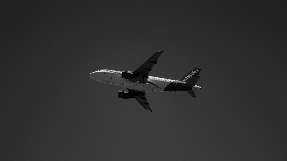white and black airplane