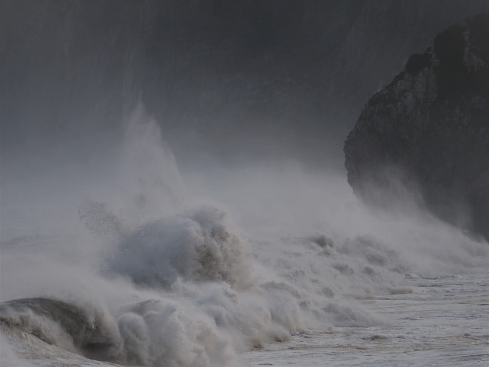 waves rushed to shore