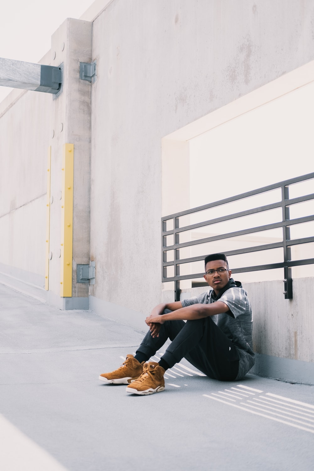 an sitting on concrete floor