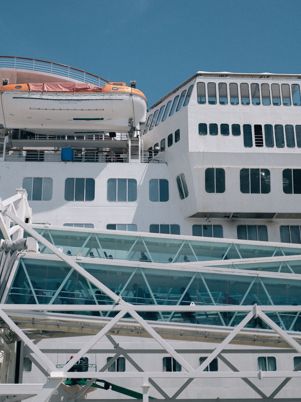 architectural photography of white cruise ship