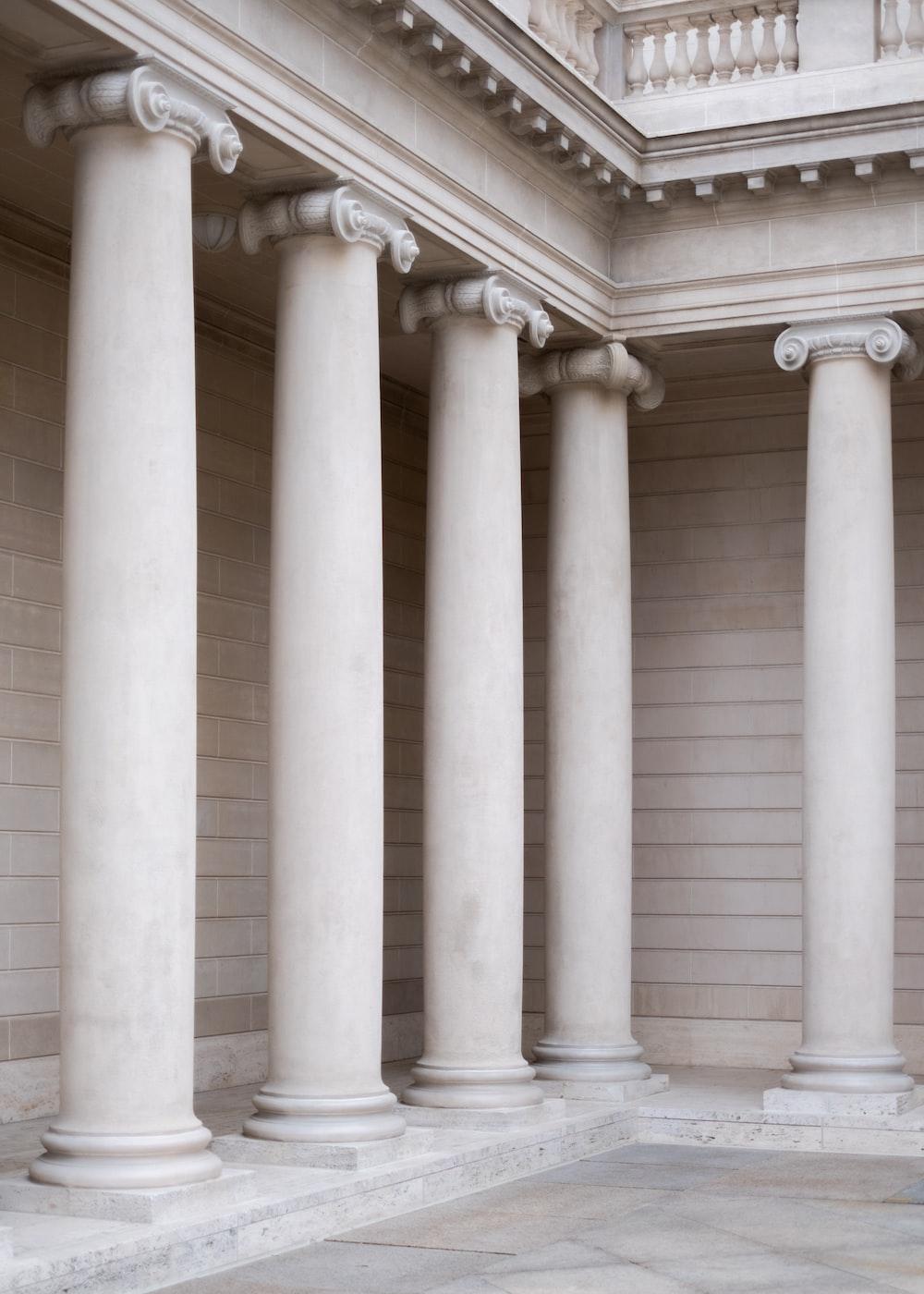 photo of white concrete pillars