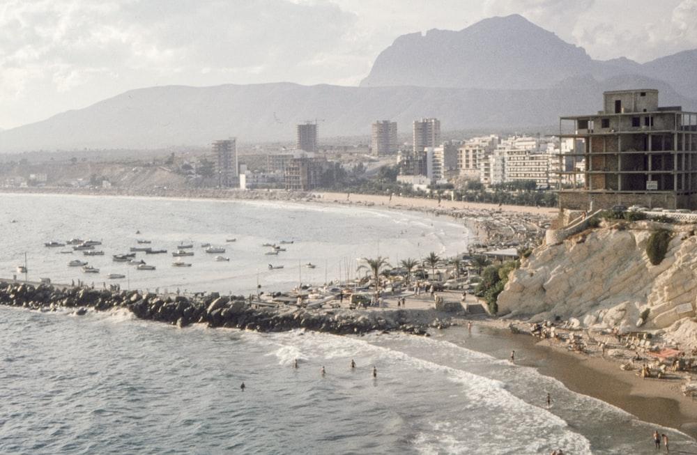 seashore scenery and city building