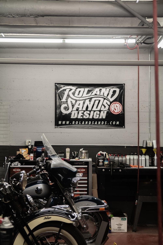black motorcycle parked inside garage