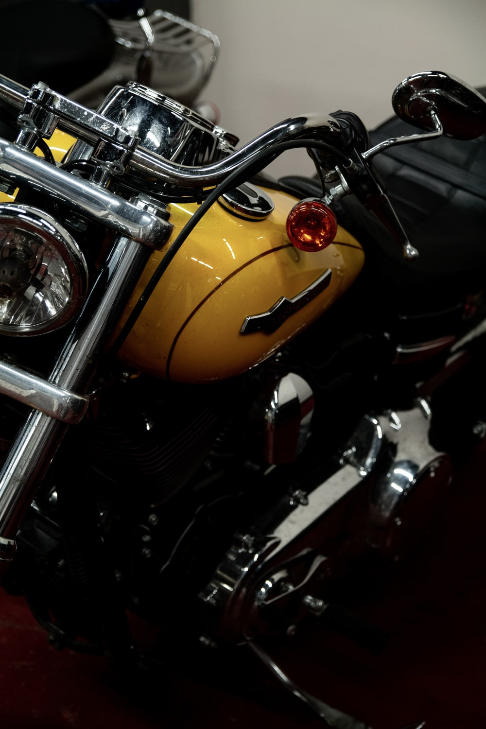 yellow and black motorcycle