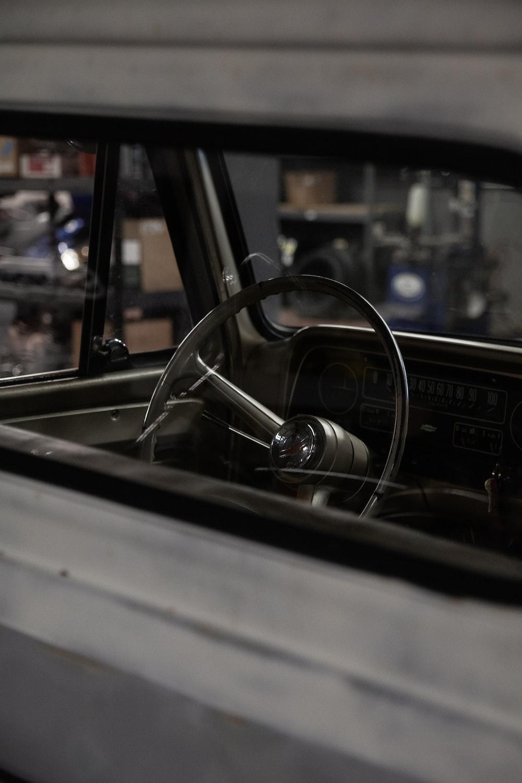 vehicle steering wheel through window