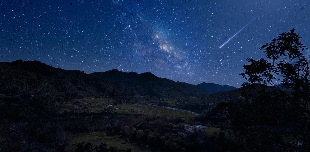 shooting star on sky