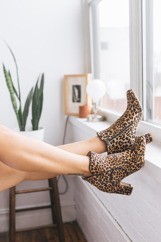 brown-and-black leopard print side-zip booties