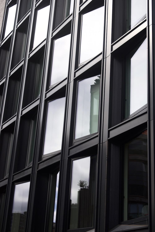 black framed glass panel building