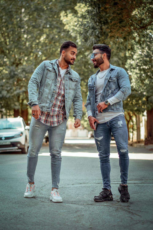 men standing near trees