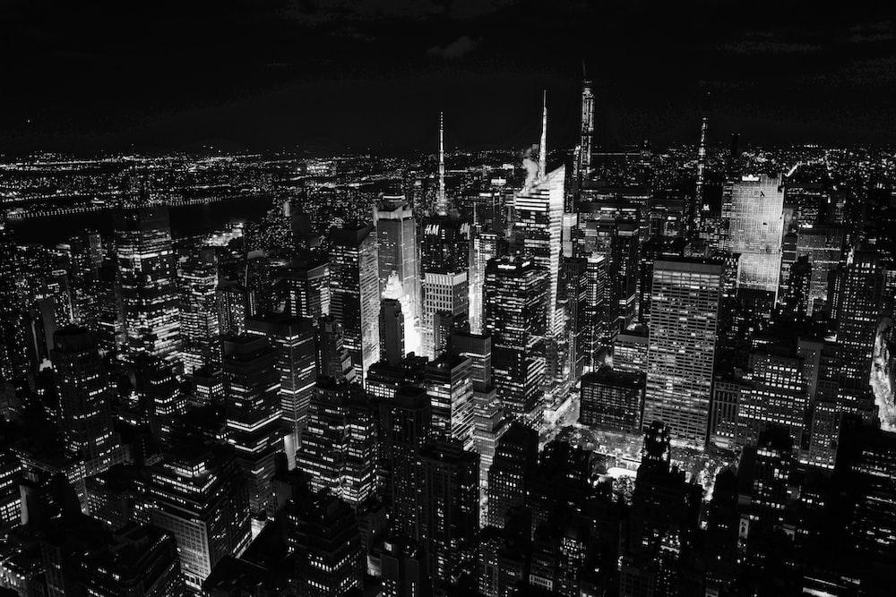 grayscale photo of cityscape