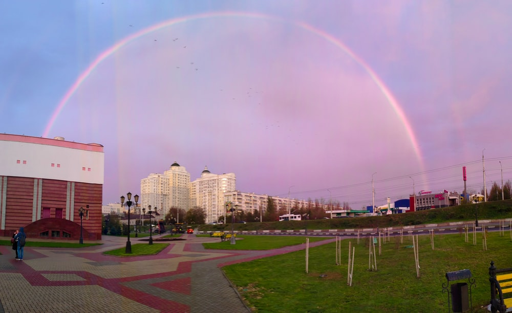 rainbow in city