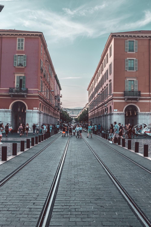 people on tram lane