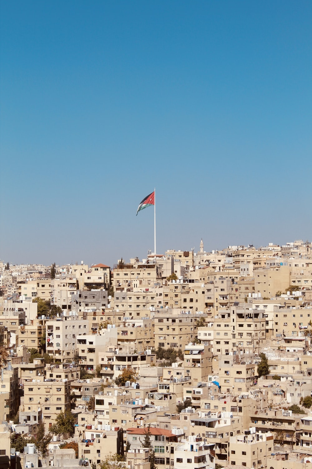 brown houses with red and blue flag waving on pole