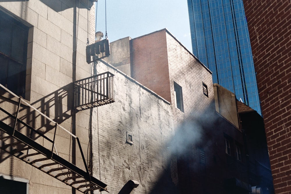 emergency staircase of brown building