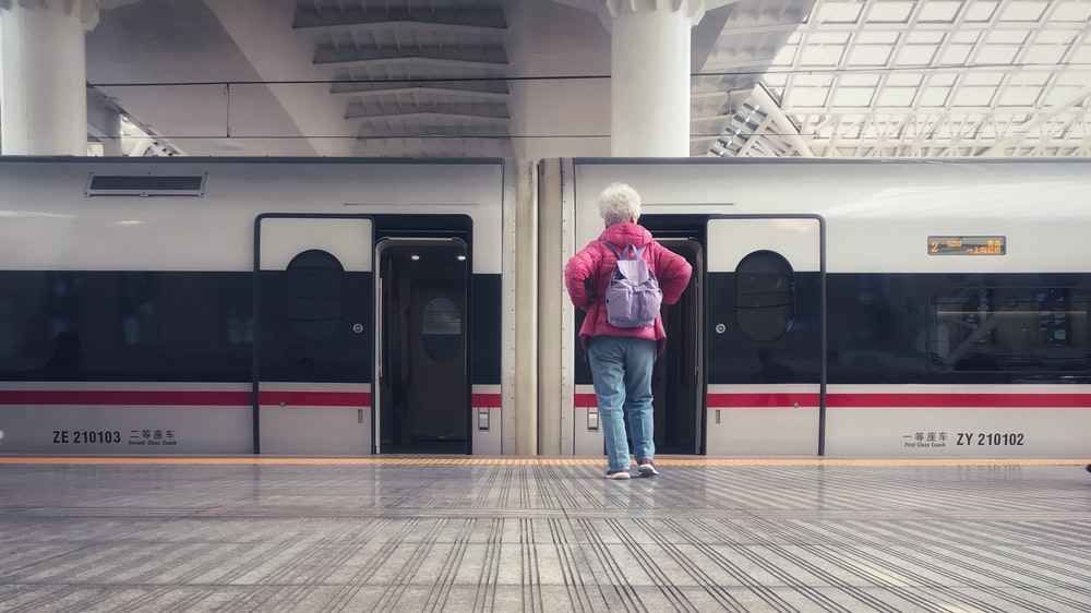 person standing beside train