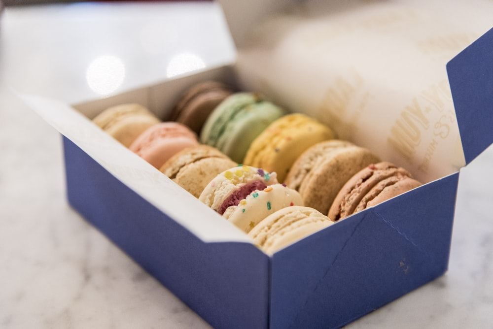 open box of French macarons
