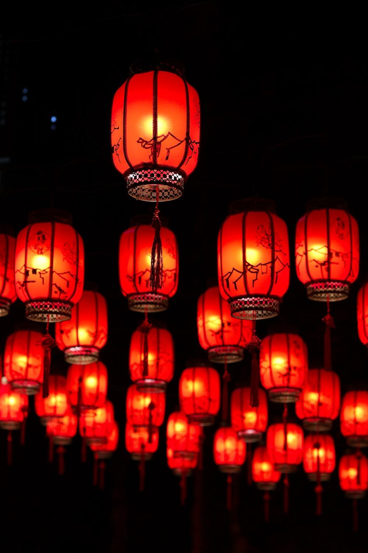 red paper lanterns at night