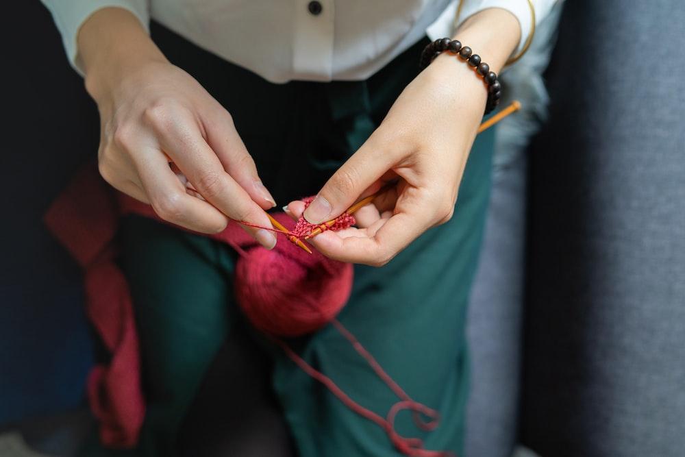 woman stitching