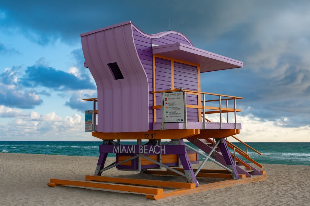 purple and brown wooden Miami Beach cottage by the beach