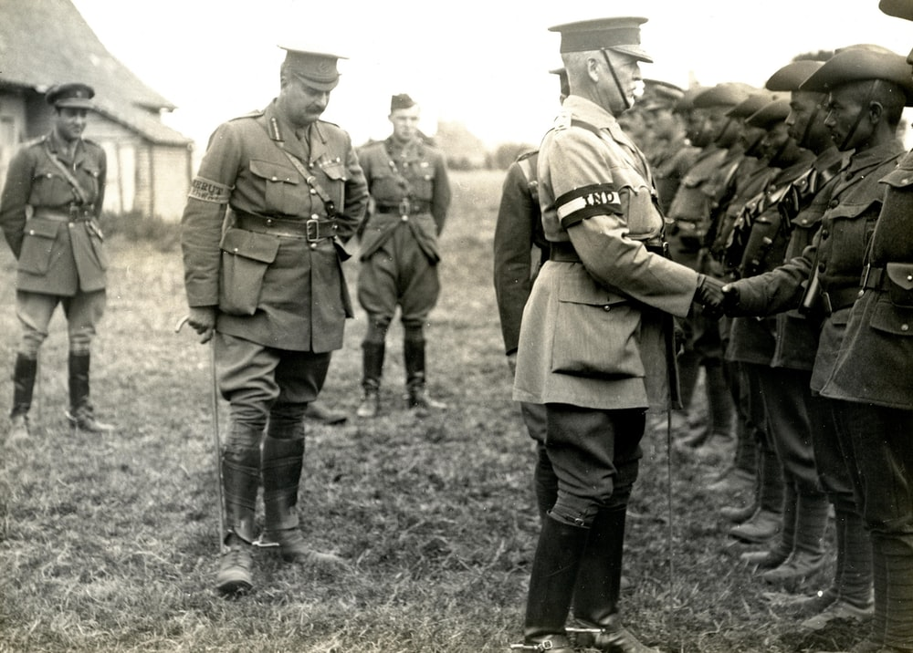 World War 1 officer congratulating soldiers