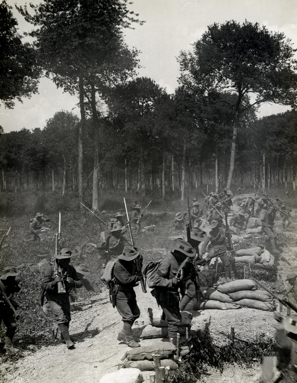 World War 1 charging a trench