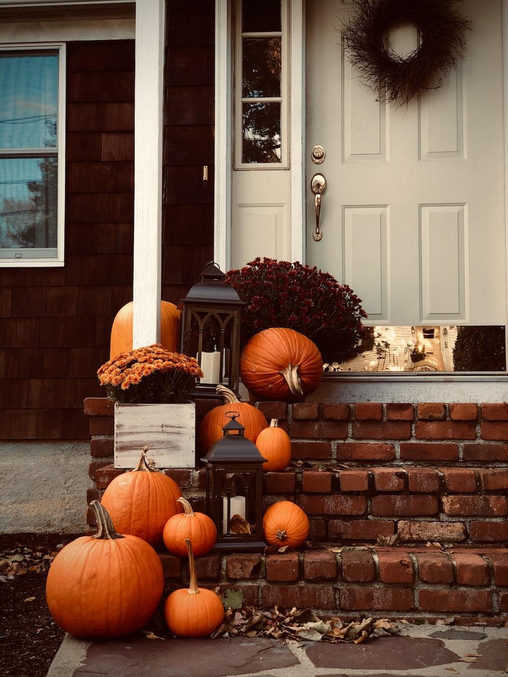 pumpkins on stairs