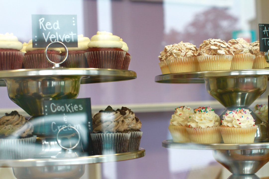 pretty, colorful cupcakes, red velvet, almond torte, cookies and cream, dessert