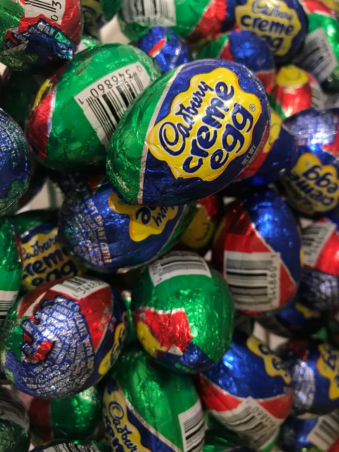 Cadbury creme egg piled together