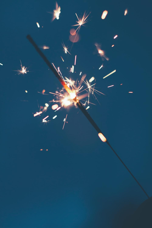 one lit sparkler