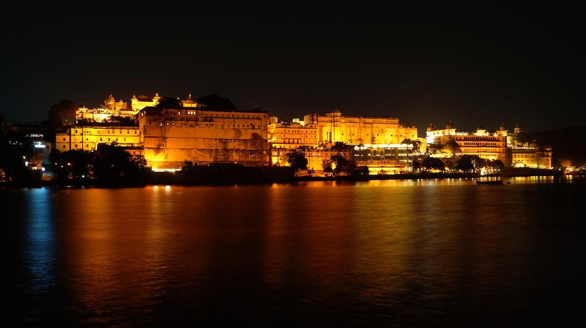Night view of Lake palace, Pichola