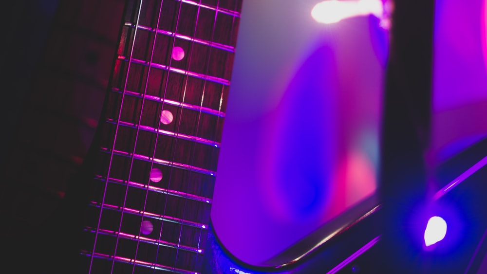 close view of electric guitar
