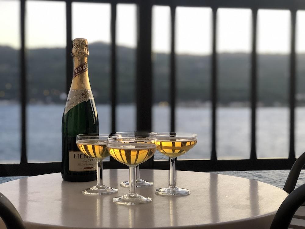 four martini glasses on table