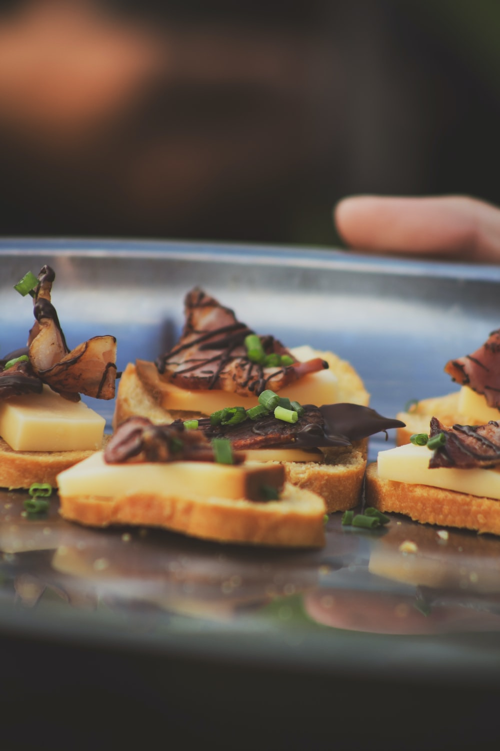 toasted breads with cheese and chocolate