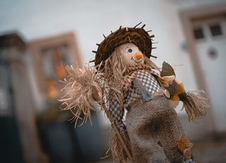 selective focus photography of scarecrow