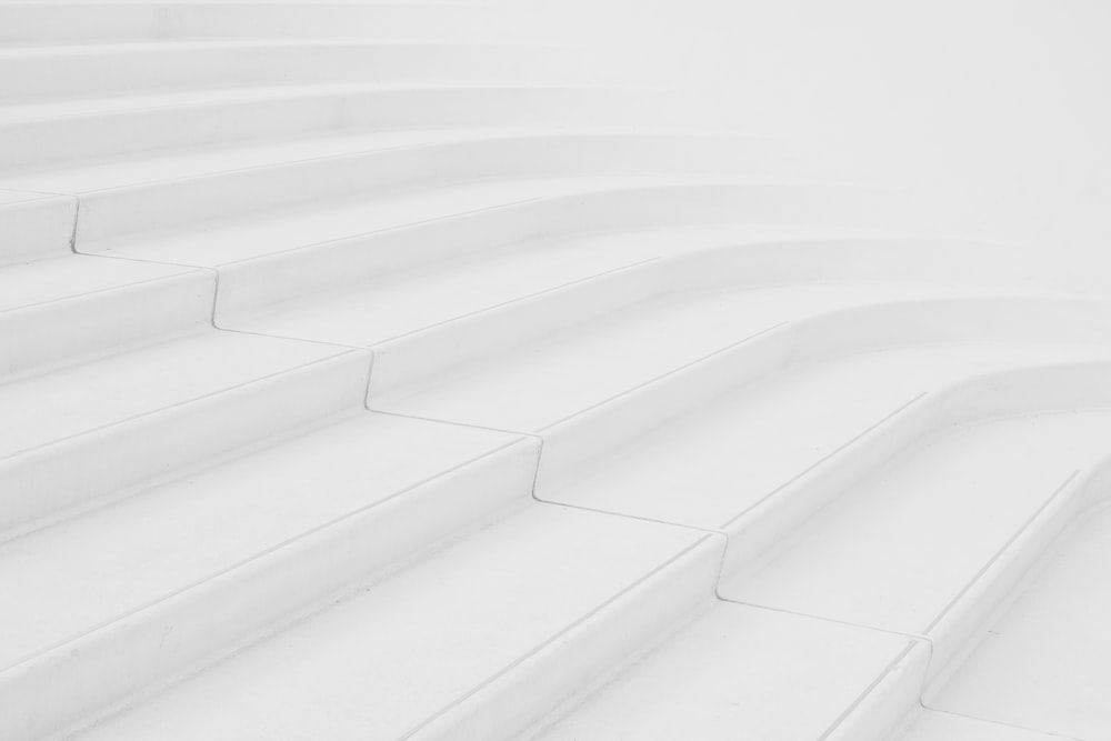 architectural photography of white stair