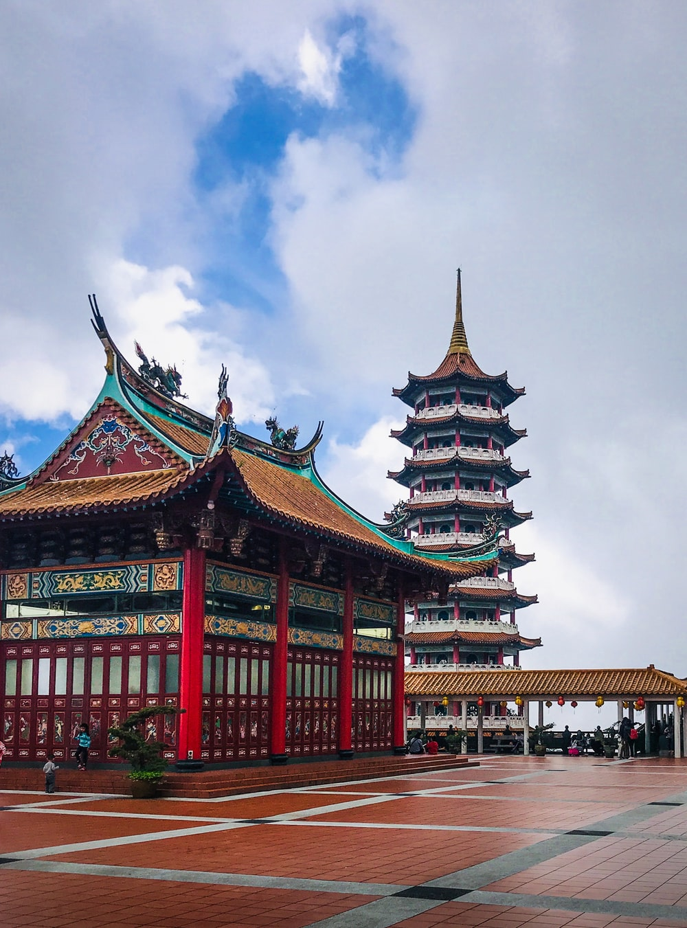 architectural photography of red, brown, and blue temple