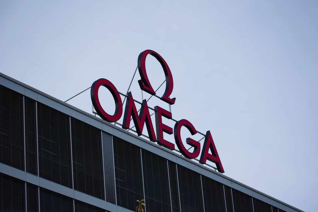 Omega logo on the Omega production site in Biel/Bienne, Switzerland
