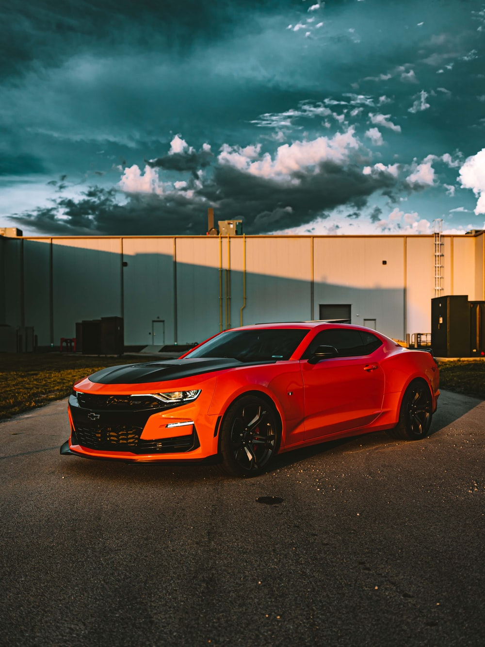 red Ford Mustang coupe