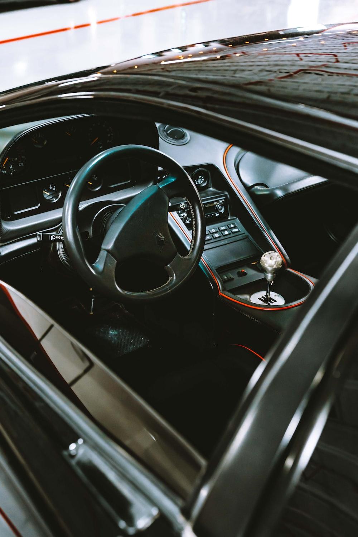 shallow focus photo of black car console