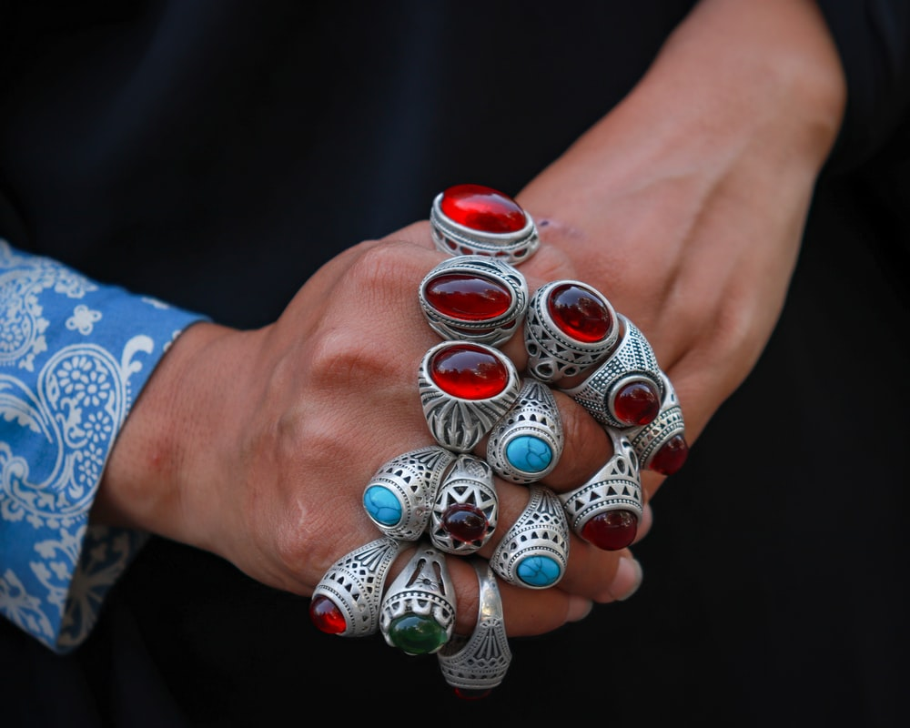 assorted-color cabuchon ring lot