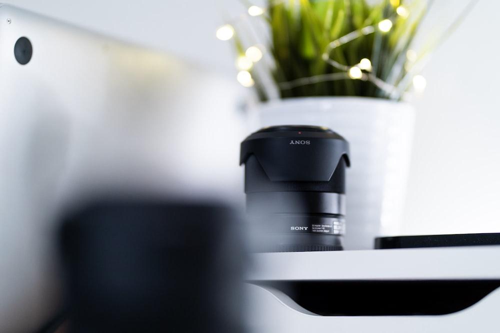 black Sony zoom lens