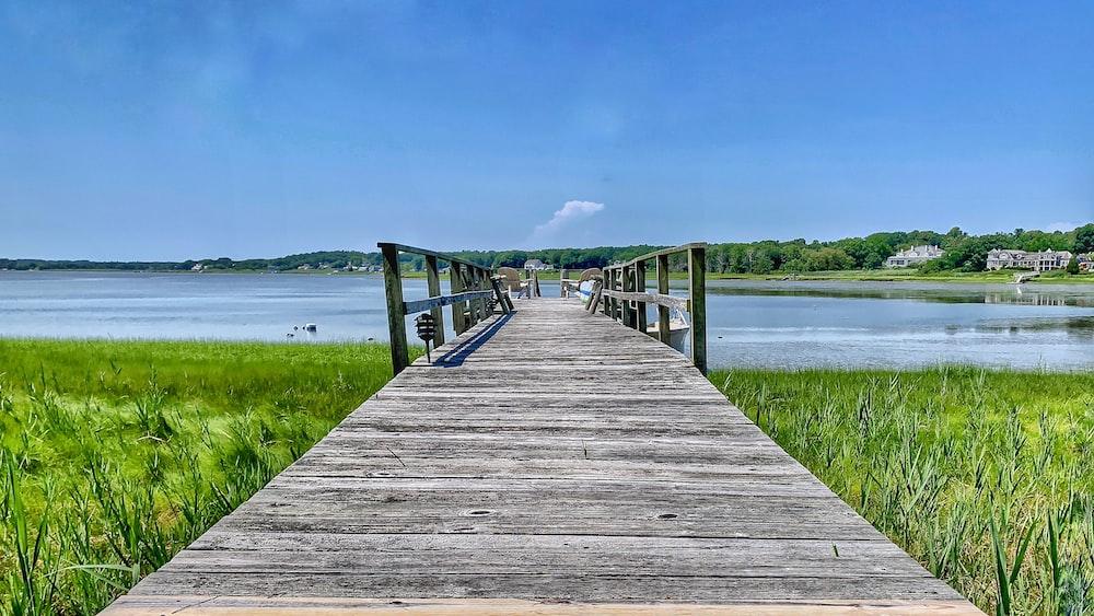 wooden dock on lake