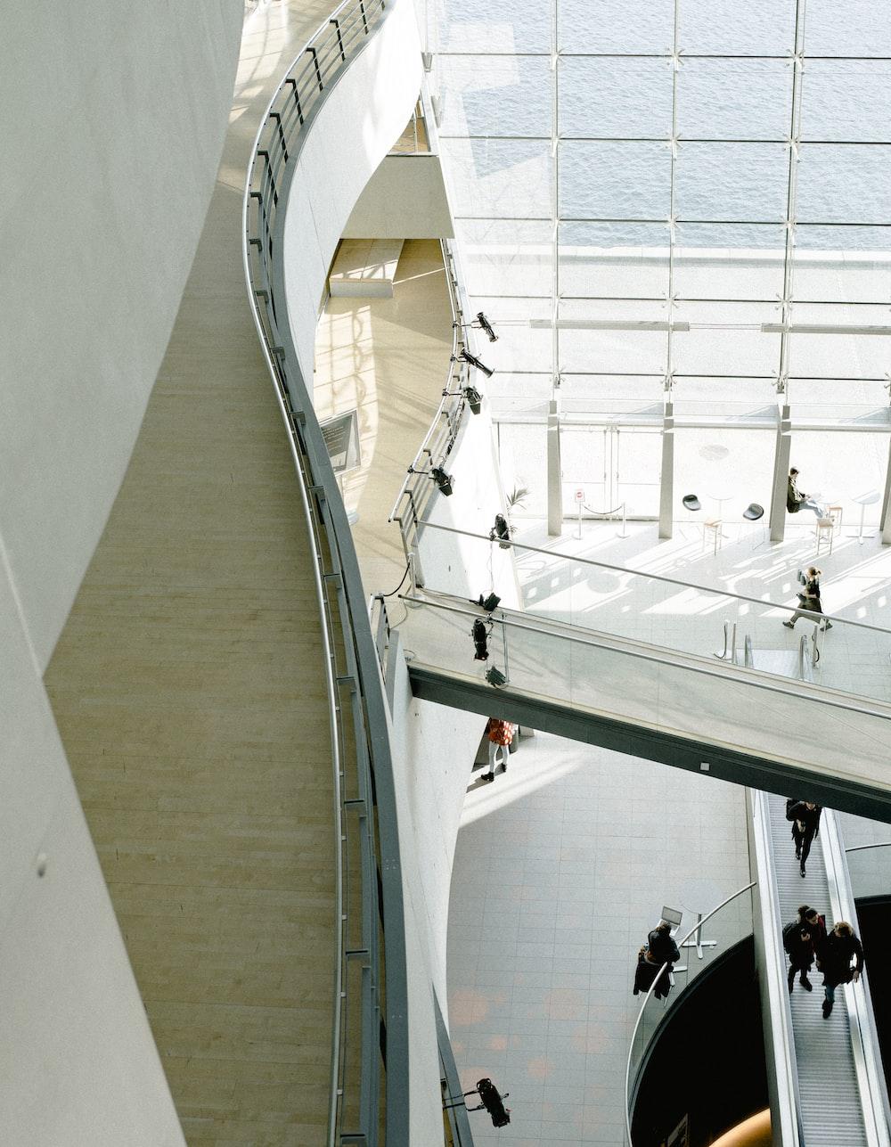 people walking inside white painted building