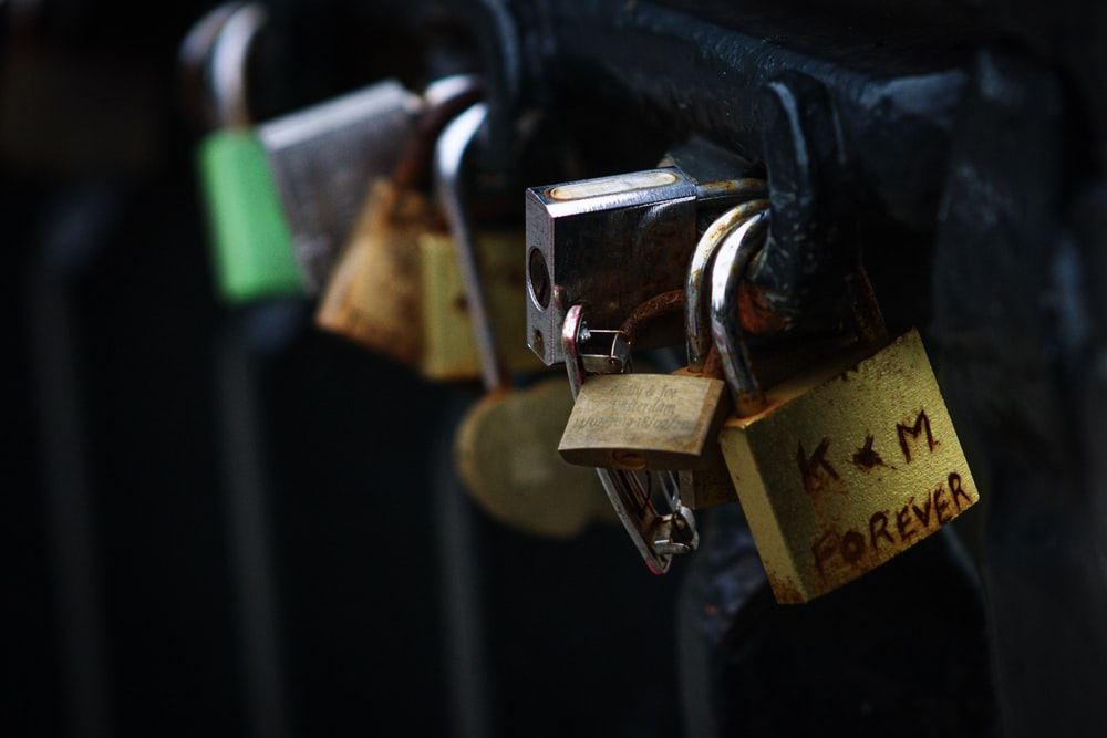 assorted-color padlocks