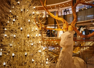 brown and white deer Christmas decor