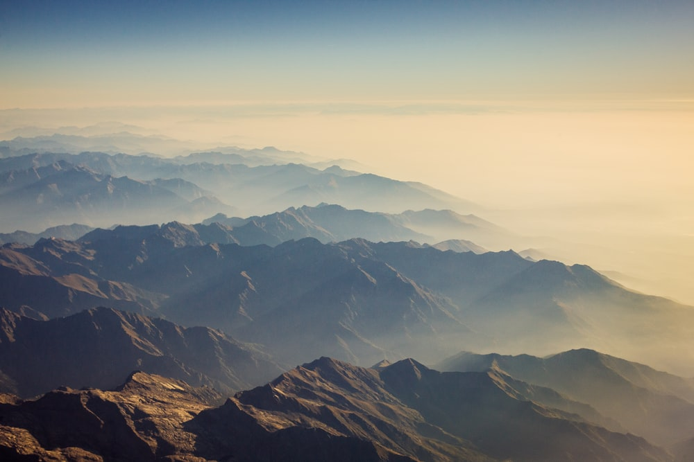 mountains with fog